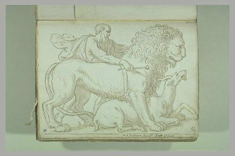 Un lion dominant une antilope, un homme drapé retenant le lion