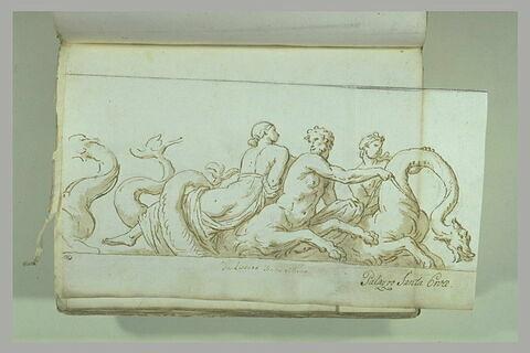 Triton conduisant un monstre marin ; ils portent des néréides