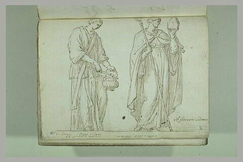Diacre tenant un goupillon et un bénitier prècède un évêque...
