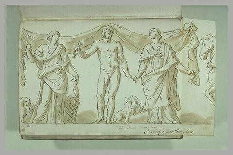 Deux femmes drapées entourant un homme tenant un foudre