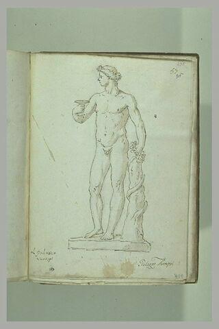 Bacchus levant une coupe de sa main droite