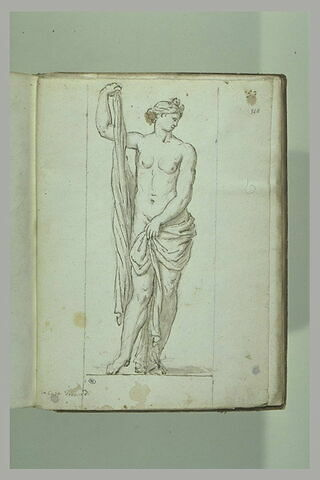Femme nue retenant une draperie, le bras droit à demi relevé, ... ; Vénus