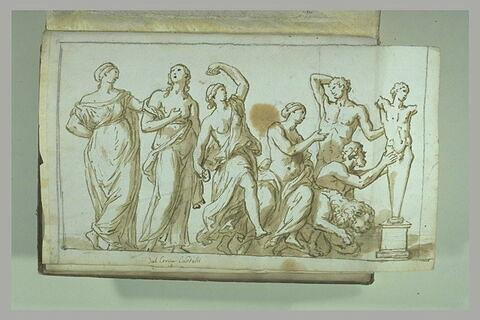 Cortège composé de six figures d'hommes et de femmes ainsi qu'un lion...