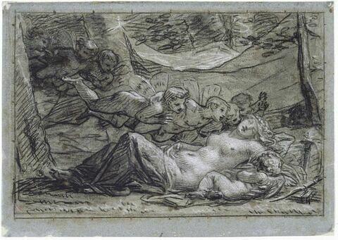 Vénus et l'Amour endormis caressés et réveillés par les Zéphyrs