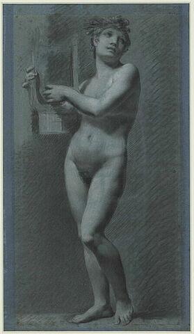 Etude de femme debout, jouant de la lyre, dite 'La Musique' ou 'La Poésie'