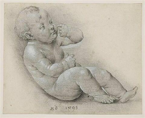 L'Enfant Jésus assis à terre, tourné à droite, l'index sur la joue