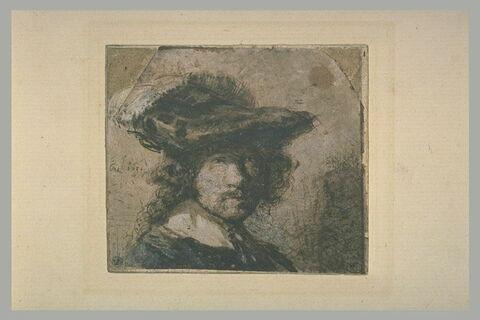 Autoportrait coiffé d'un béret orné d'une plume