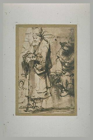 Vieillard barbu, appuyé sur un bâton et figure assise