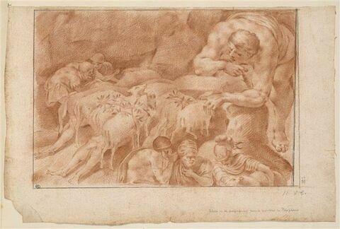 Ulysse et ses compagnons s'enfuient de l'antre de Polyphème