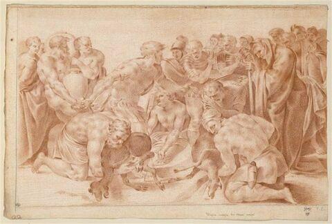 Ulysse sacrifiant des boucs noirs à Pluton