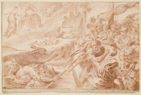 Les compagnons d'Ulysse volent les boeufs du Soleil