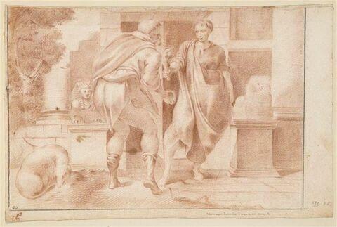 Ulysse reçevant l'aumône d'une de ses servantes