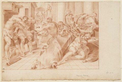 Ulysse et Télémaque attaquant les prétendants