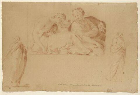 Femmes et enfants ; deux figures d'homme drapés et debouts