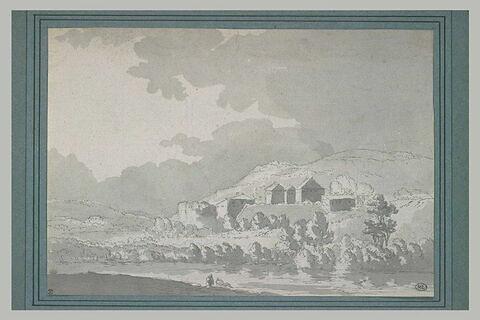A Avallon sur Marne, maisons sur un coteau au bord d'une rivière