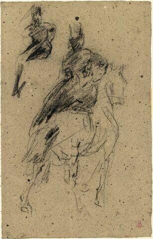 Amazone, vue de dos, sur un cheval au pas ; croquis de la pose de l'amazone