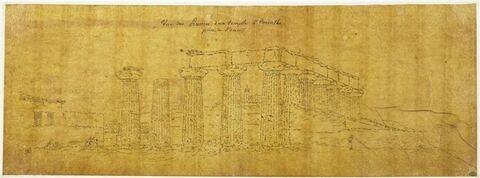 Vue d'un temple à Corinthe
