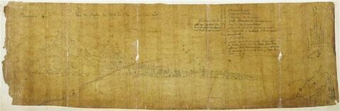 Vue panoramique de Corfou et notes manuscrites
