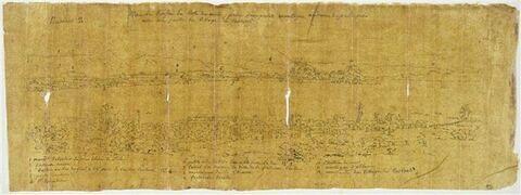 Vues panoramique de Corfou et notes manuscrites