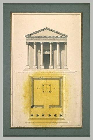Plan et élévation du temple de Neptune à Palmyre
