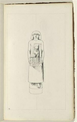 Etude d'une sculpture égyptienne portant le dieu Thot(?)