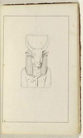Etude d'une sculpture en buste d'un dieu égyptien : Athor