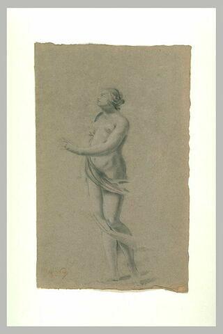 Femme nue, debout, tournée vers la gauche, regardant vers le haut