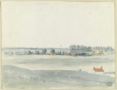 Paysage avec au loin la ville de Gand