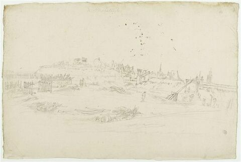 Vue d'une partie des fortifications de Maastricht, après le bombardement