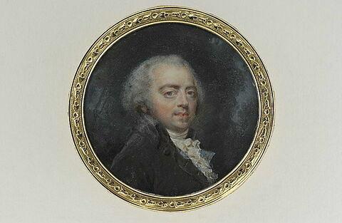 Portrait de l'artiste en perruque poudrée.