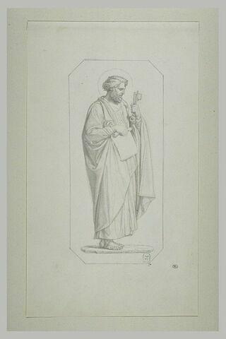 Saint Pierre, présenté de profil, dans un encadrement octogonal