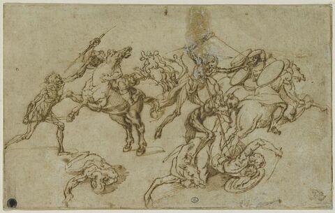 Combat de cavaliers armés contre des fantassins écorchés