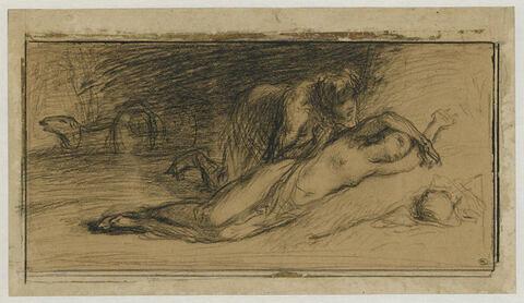 Femme à moitié nue, étendue au pied d'une meule