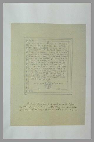 Epitaphe de Catherine de Bourbon