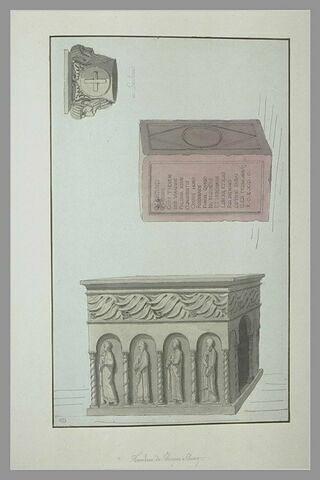 Chapiteau à Saulieu, piédestal, tombeau de Saint Hugues à Cluny