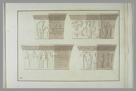 Chapiteaux historiés provenant de l'église basse de Saint-Denis