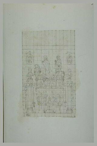 Tombeau de la Renaissance surmonté de deux priant