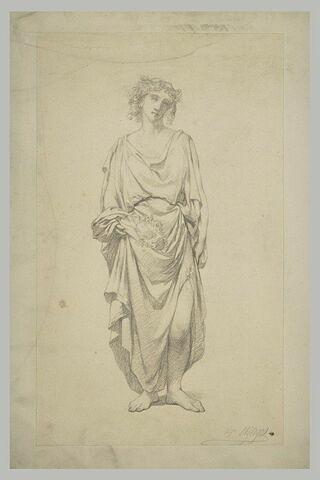 Figure féminine drapée, tenant des fleurs dans un pli de son vêtement