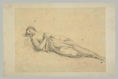 Femme dormant étendue, la poitrine nue