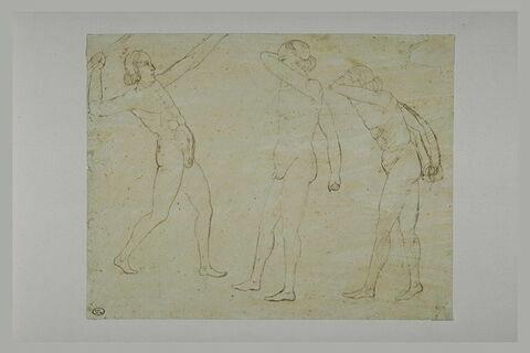 Homme lançant un bâton, et deux hommes se protégeant le visage