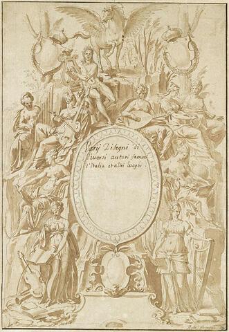 Frontispice avec Apollon, Pégase et les neuf Muses sur l'Hélicon