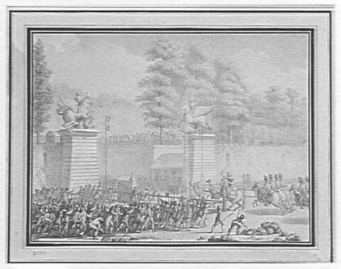 Mr de Lambesc entrant aux Tuileries, avec un détachement de royal-allemand