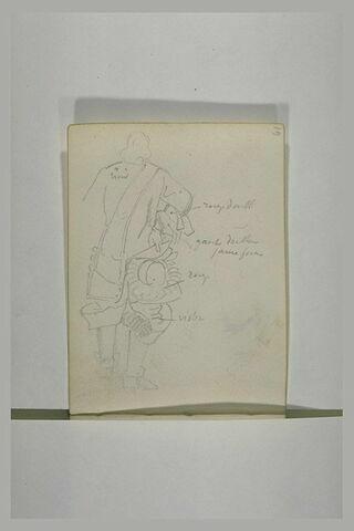 Etude de costume et indications manuscrites