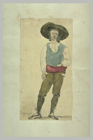 Paysan, coiffé d'un grand chapeau, en manches de chemise