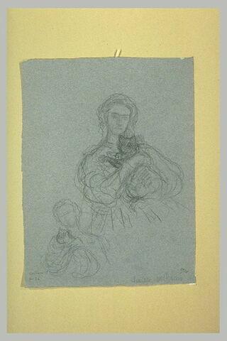 Etude pour le portrait de Mademoiselle Roberty, de Marseille, tenant un chat