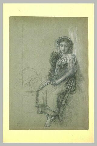 Etude de jeune paysanne italienne, assise, sur un rebord de fenêtre