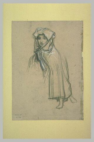Paysanne italienne, vue en buste ; pieds sous une jupe