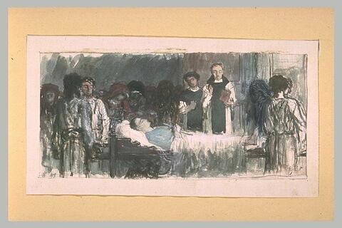 Prêtre donnant l'extrême-onction à un mourant