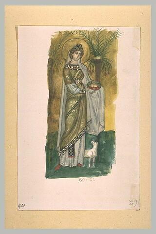 Sainte Agnès, d'après une mosaïque de Sant' Apollinare Nuovo de Ravenne