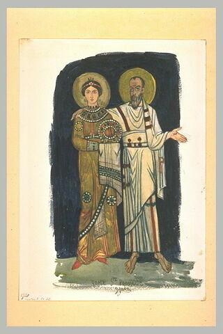 Deux figures, une sainte et un saint, d'après une mosaïque de Sainte-Praxède